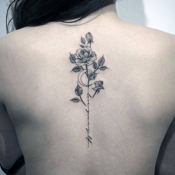 Womens Spine Black Rose Tattoo