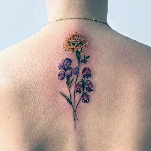 Womens Spine Blossoms Tattoo