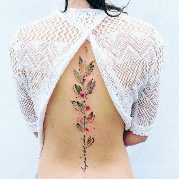 Womens Spine Cherry Plant Tattoo