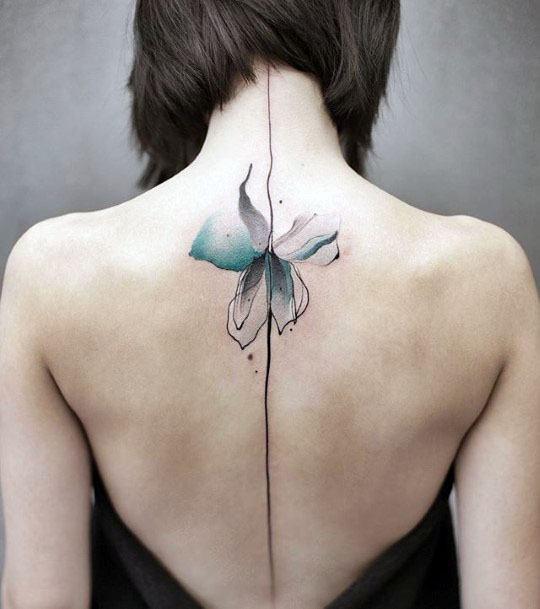 Womens Spine Flower Tattoo