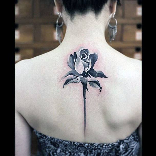 Womens Spine Grey Rose Tattoo