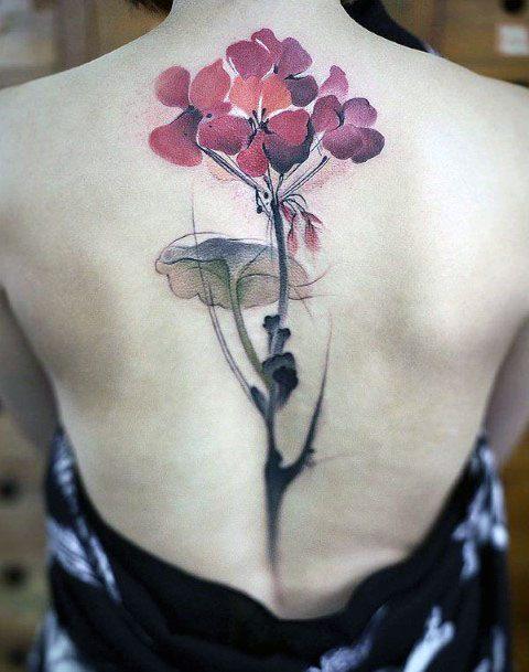 Womens Spine Pink Flower Tattoo