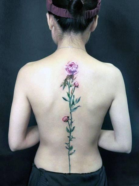 Womens Spine Rose Tattoo