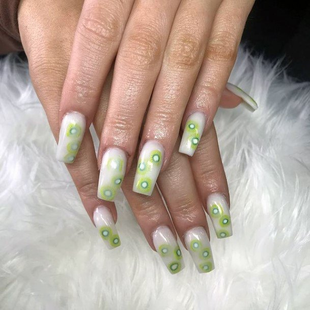 Womens Square Nails With Kiwi Stickers Women