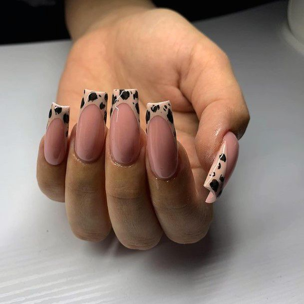 Womens Square Tipped Nails Leopard Women