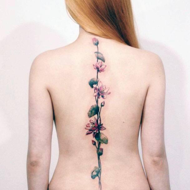 Womens Straight Creeper Flower Tattoo Spine
