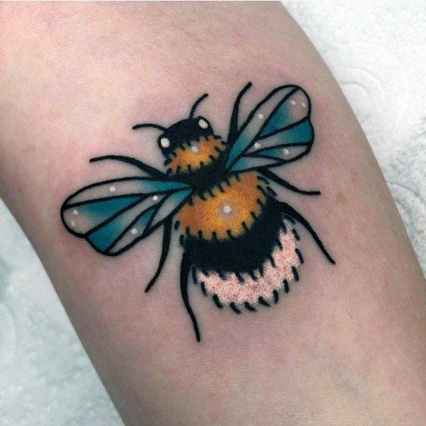 Womens Stunning Blue Winged Bee Tattoo
