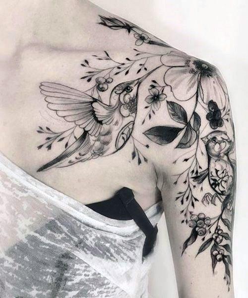 Womens Stunning Hummingbird Tattoo