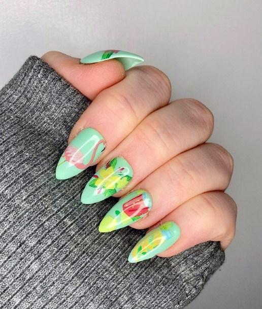 Womens Summer Zest Green Flamingo Nails