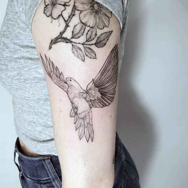 Womens Tattoo Blossoms And Dove Arms Art