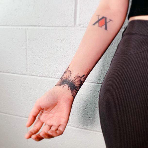Womens Terrific Moth Tattoo On Wrist
