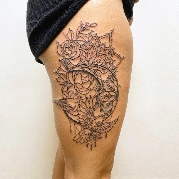 Womens Thighs Artistic Dove Tattoo Geometric