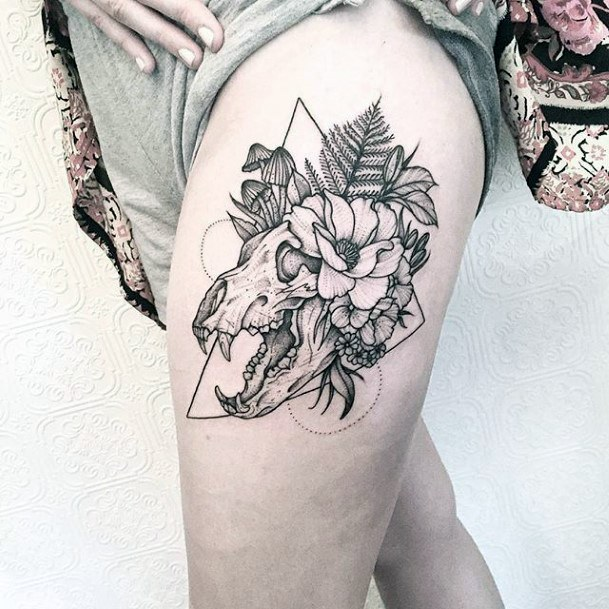 Womens Thighs Bear And Leaves Tattoo