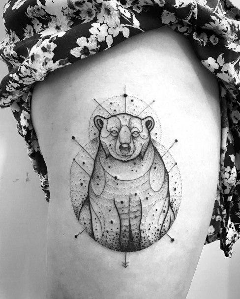 Womens Thighs Bear Tattoo