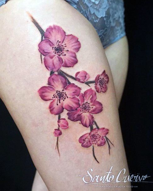 Womens Thighs Cherry Blossom Tattoo