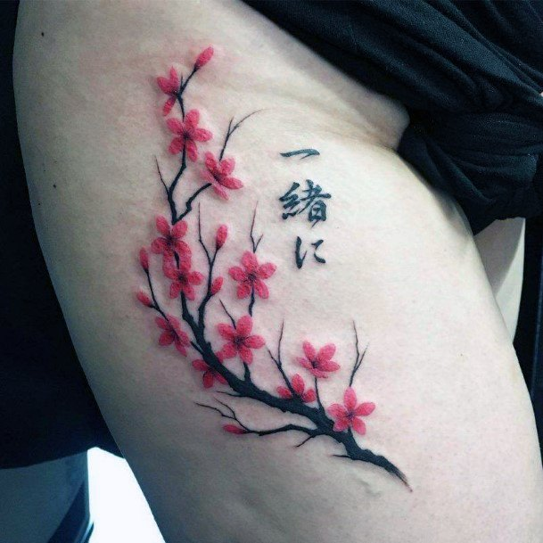 Womens Thighs Dark Cherry Blossom Tattoo Japanese Art
