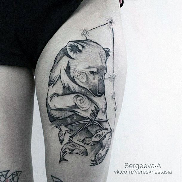 Womens Thighs Ragged Bear Tattoo