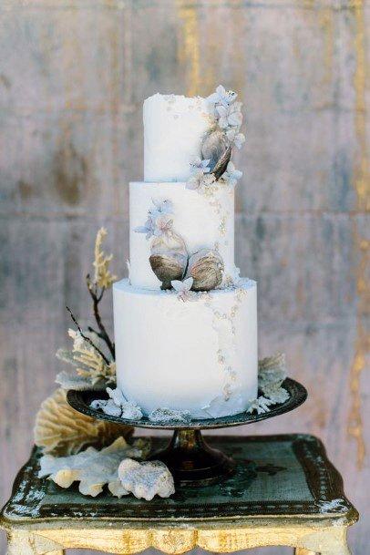 Womens Three Tiered Beach Wedding Cake