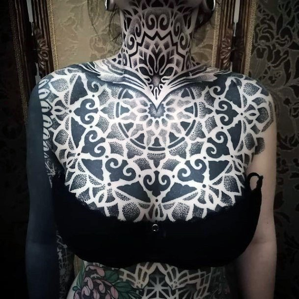 Womens Torso Black And Grey Geometric Tattoo