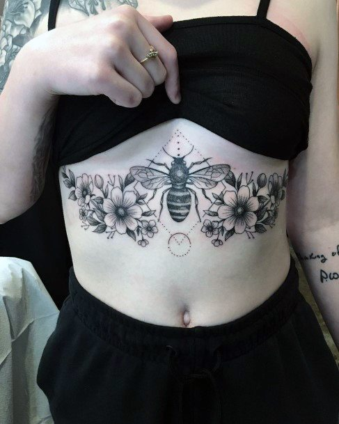 Womens Torso Flowers And Bees Tattoo