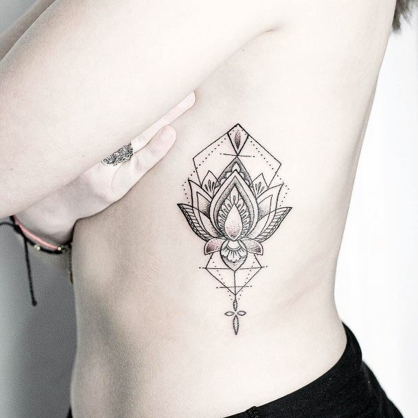Womens Torso Geometric Art Tattoo