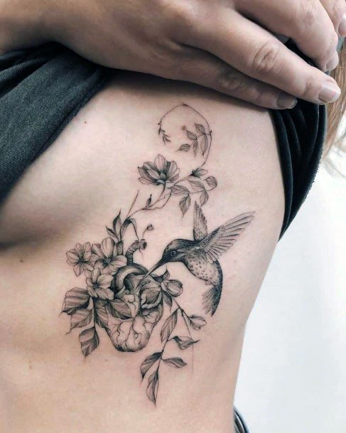 Womens Torso Grey Toned Hummingbird Tattoo