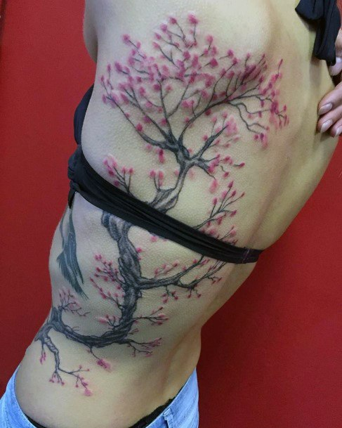 Womens Torso Large Branched Cherry Blossom Tattoo