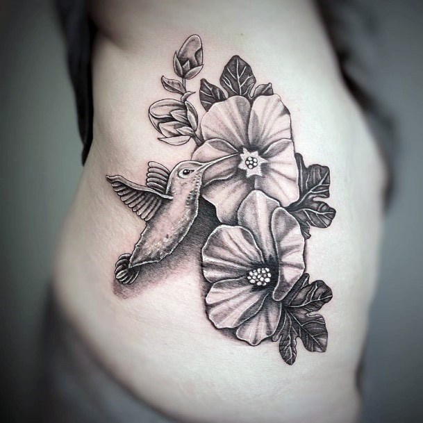 Womens Torso Pair Of Flowers Hummingbirds Tattoo