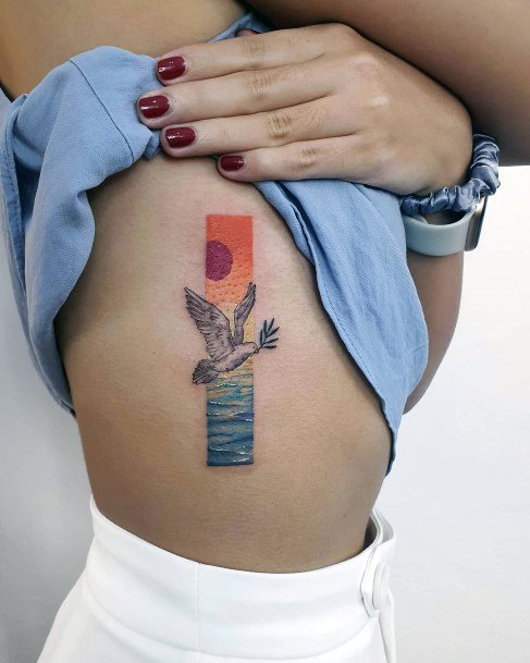 Womens Torso Sunset Beach Framed Dove Tattoo