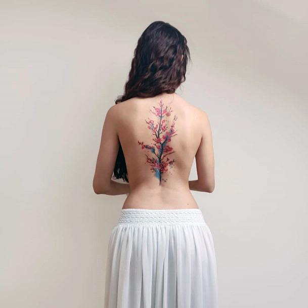 Womens Treasured Tattoo Cherry Blossom Back