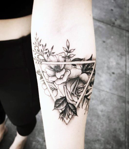 Womens Triangular Framed Flowers Tattoo Geometric