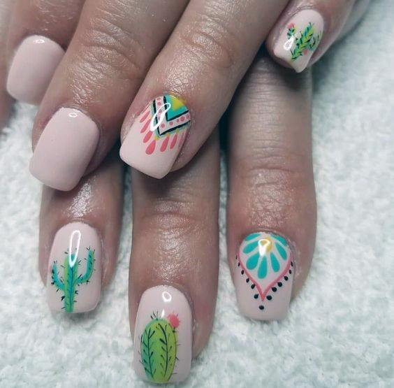 Womens Tribal Art Cactus Nails