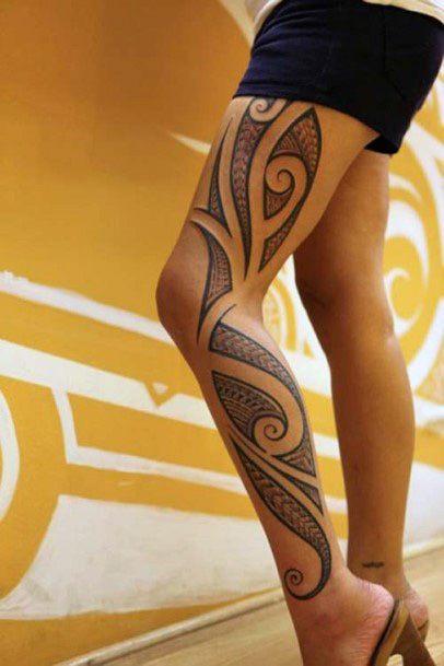 Womens Tribal Tattoo On Legs
