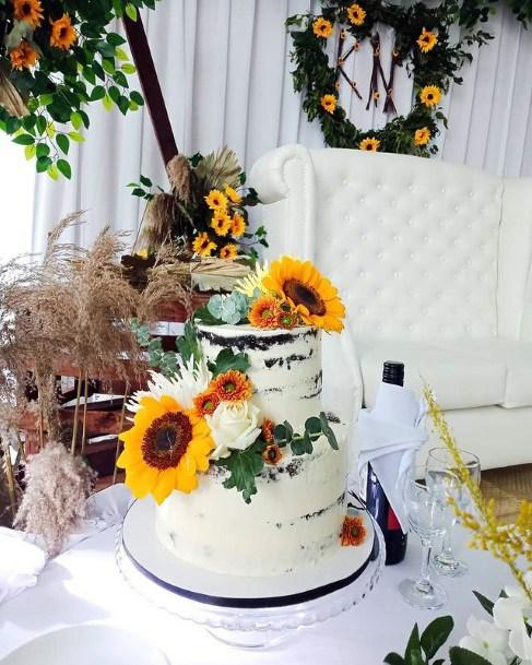 Womens Two Tiered Sunflower Wedding Cake
