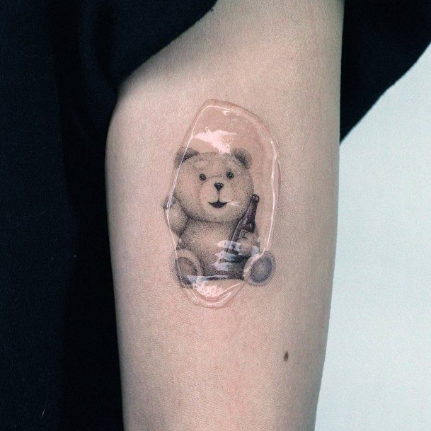 Womens Upper Arms Cute Bear Tattoo
