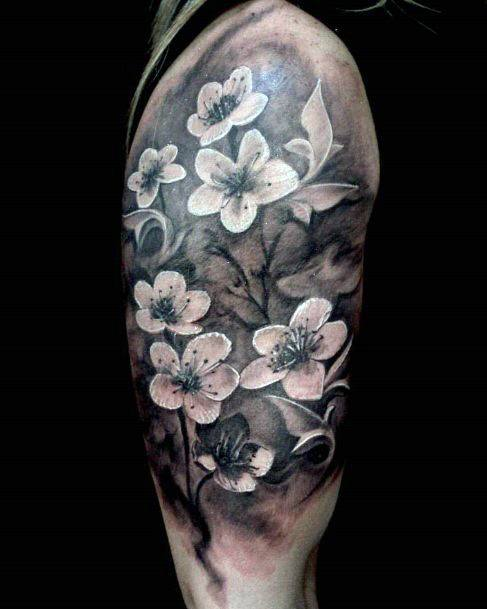 Womens Upper Arms Lovely Grey Black Cherry Blossom Tattoo Art