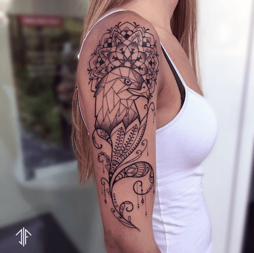 Womens Upper Arms Parrot Geometric Tattoo