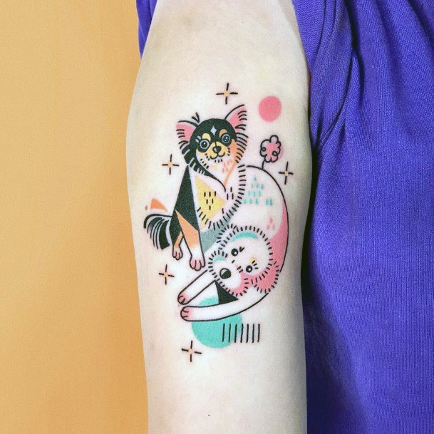 Womens Upper Arms Sweet Dogs Tattoo