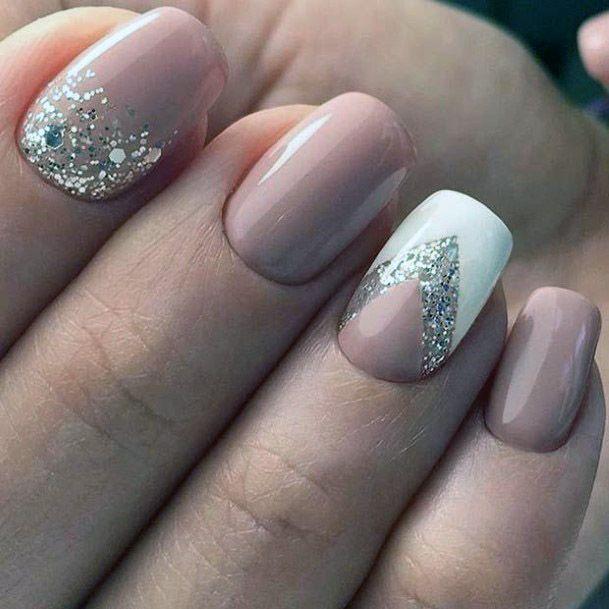 Womens V Shaped Nude Nail Design