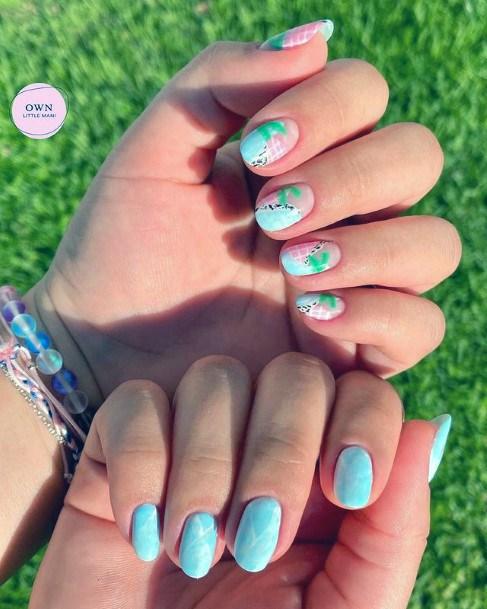 Womens Vivid Blue Water Nails