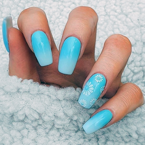 Womens Watery Blue April Nails