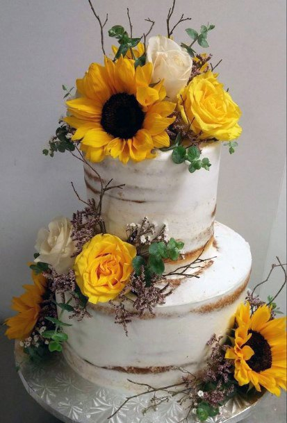 Womens Wedding Cake Decorated With Sunflowers