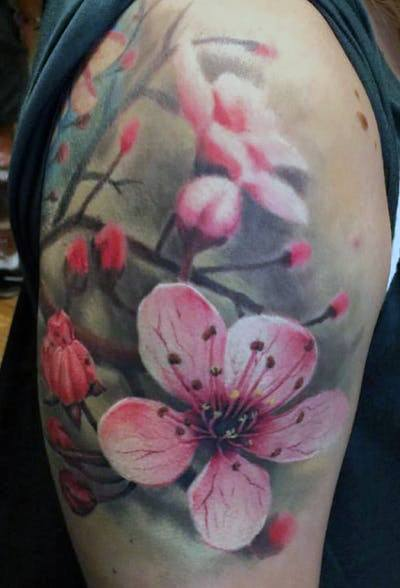 Womens Whimsical Cherry Blossom Tattoo