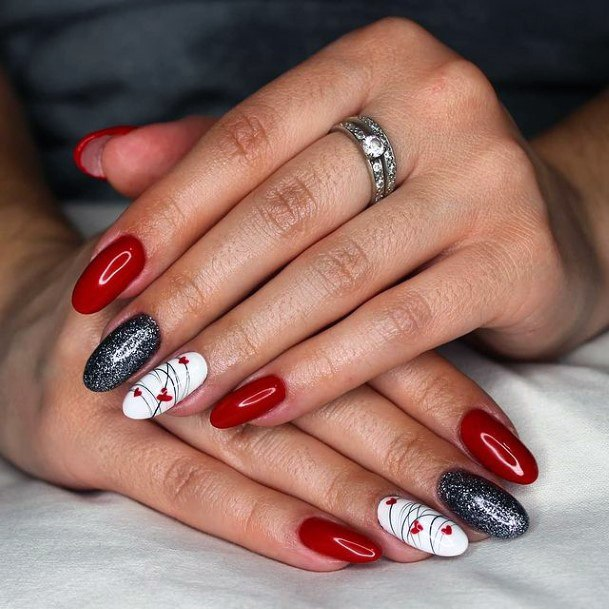 Womens Wine Red Silver Romantic Nails