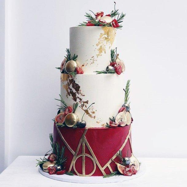 Womens Wine Red Wedding Cake 3 Tier
