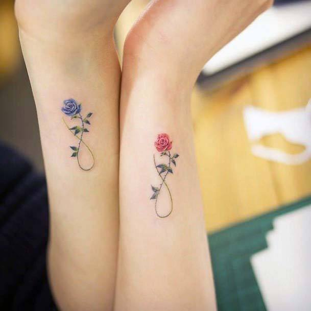 Womens Wrists Blue And Red Flower Cute Small Tattoo