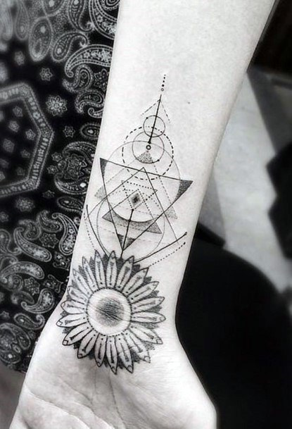 Womens Wrists Sunflower And Geometric Design Tattoo
