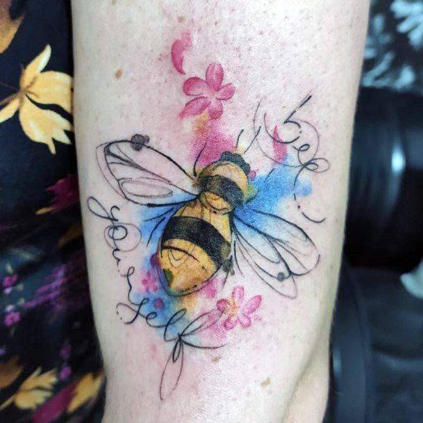 Womens Yellow Bee Tattoo