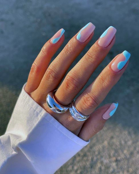 Wonderful Blue And Pink April Nails