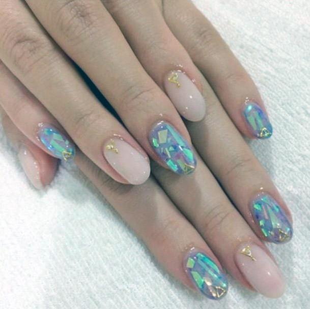 Wonderful Blue Green Iridescent Nails Women